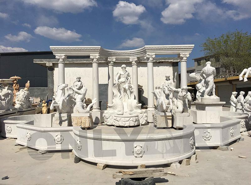 Poseidon statue natural stone fountain