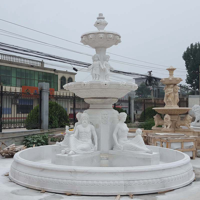 Natural Stone Outdoor White Marble Horse Water Fountain