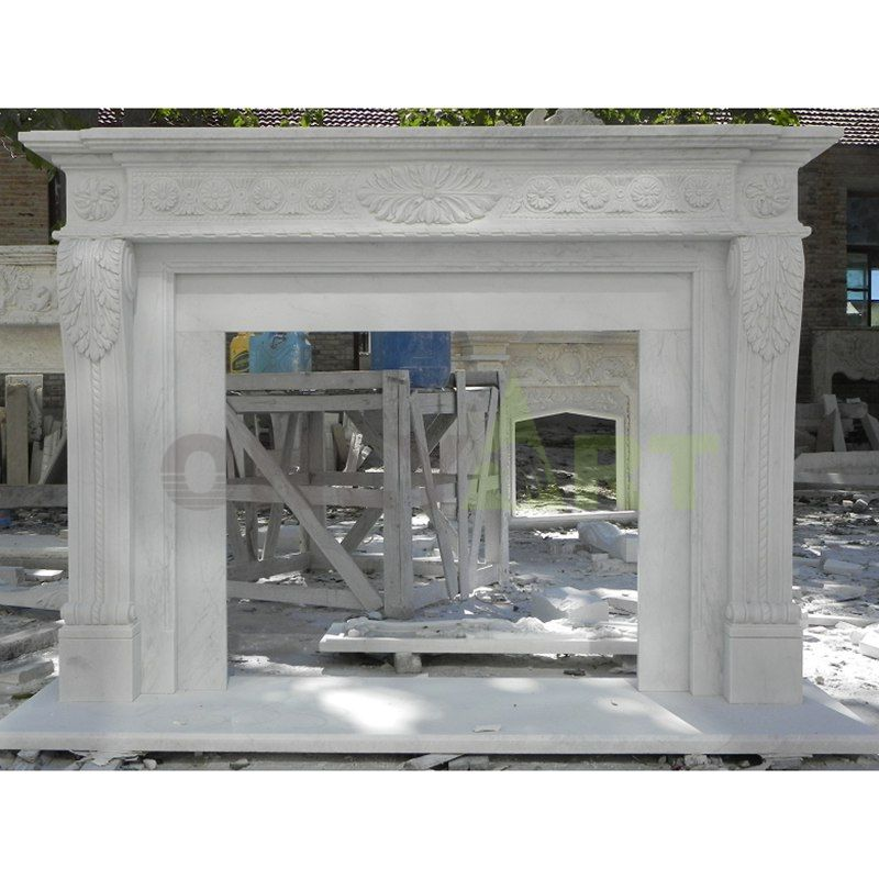 Classic French Indoor Round Stone Fireplace