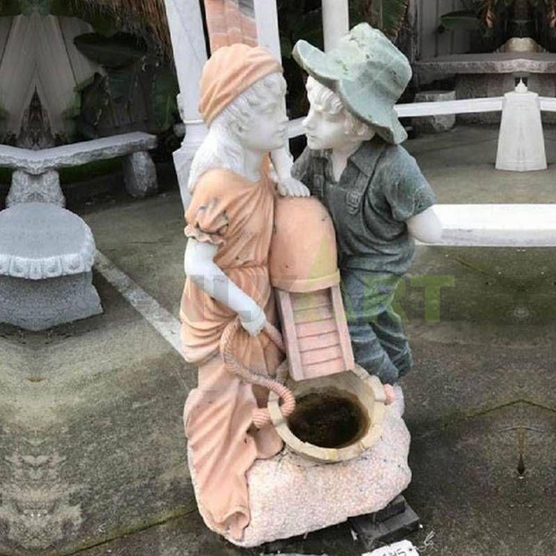Outdoor Garden Decoration Children Stone Water Fountain