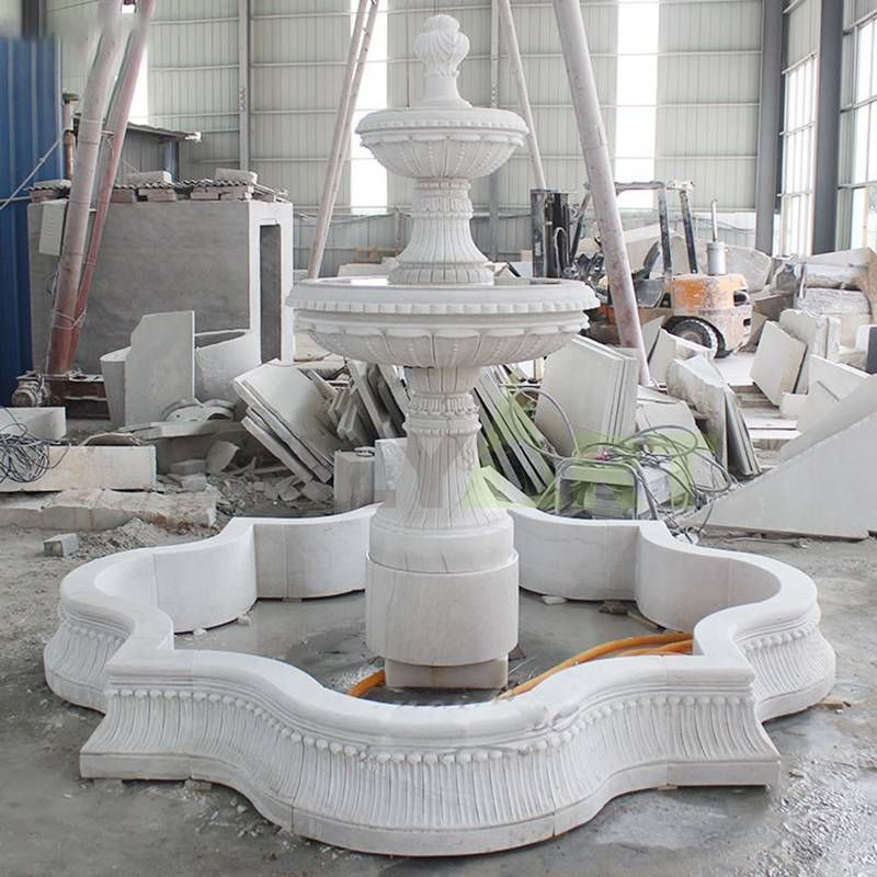 Large Natural Stone White Marble Water Fountain For Garden Decoration