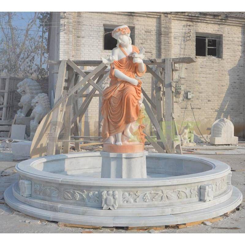 Antiqued Stone Outdoor Pool Fountain For Garden Decor