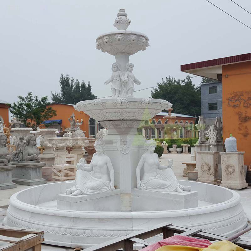 Customized Design Natural Stone Outdoor Large Marble Stone Water Fountains