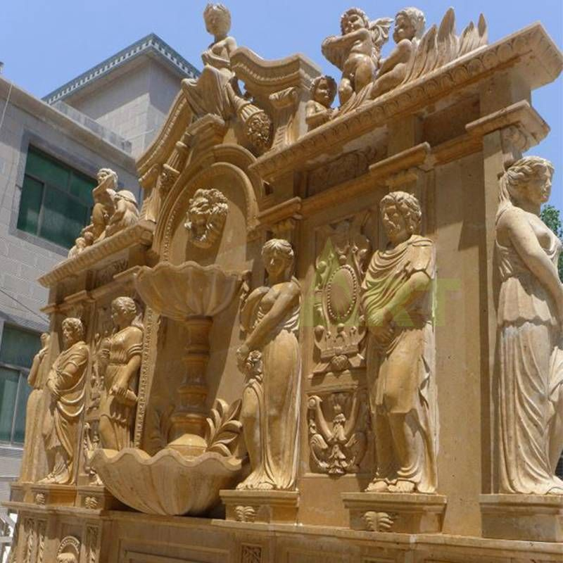 Garden Carving Stone Marble Head Wall Fountain For Outdoor