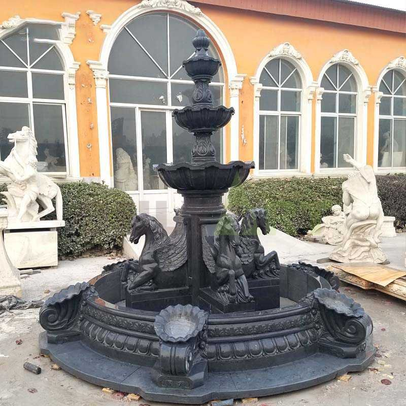 Black Marble Horse Statues Stone Garden Water Fountain