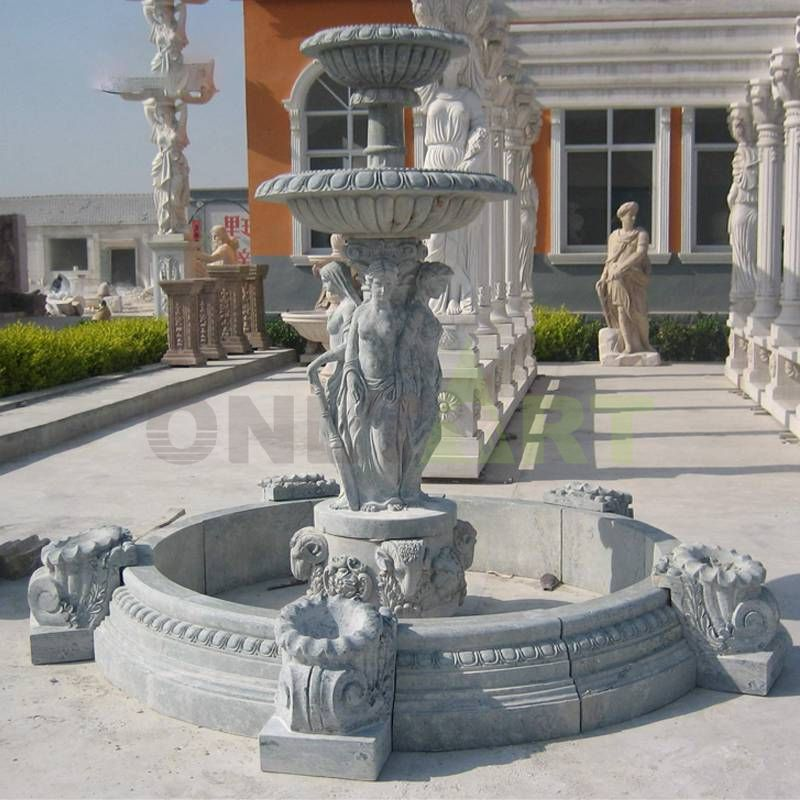 Hand Carved Garden Decoration Stone Marble Water Fountain With Lady Statue