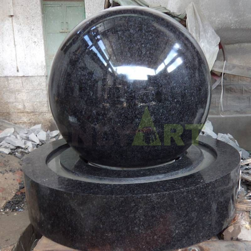 Outdoor Sculpture Black Stone Ball Fountain