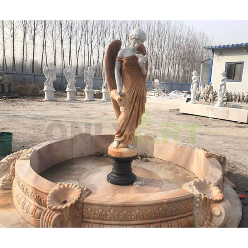 Large Outdoor Angel Statue Marble Stone Garden Water Fountain