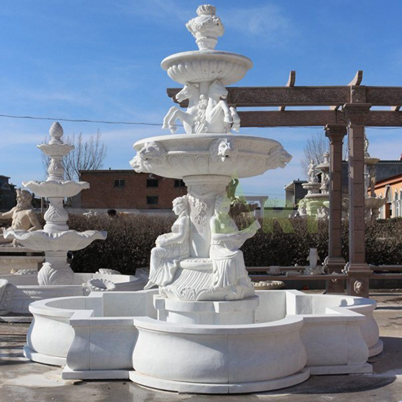 Outdoor Decoration Garden White Natural Stone Marble 2 Tier Water Fountain