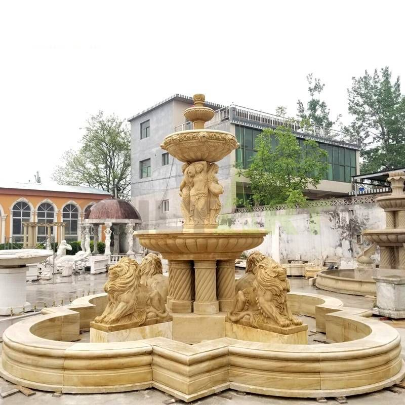 Large Outdoor Lion Horse Statue Marble Stone Fountains For Garden