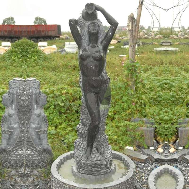 Black Marble Sexy Beauty Stone Statue Water Fountain