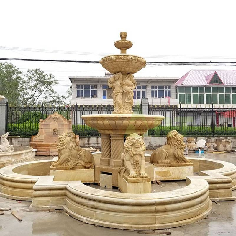 Hand Carved Lion Stone Yellow Marble Fountain