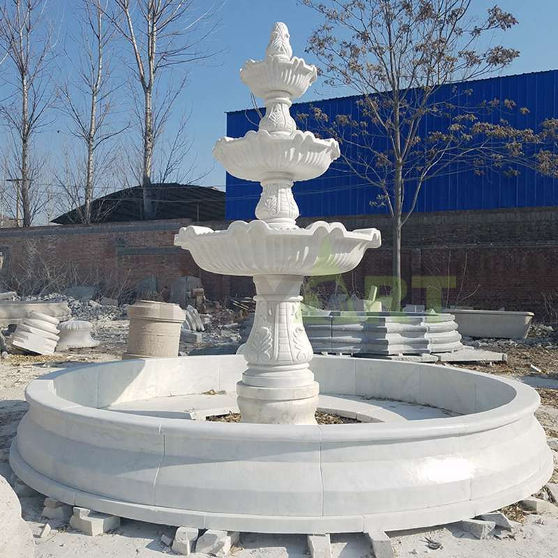 Outdoor Garden Carving Natural Stone Marble Water Fountain