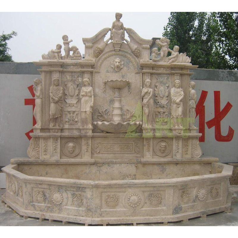 Carved Outdoor Large-Scale Stone Wall Fountains For Sale