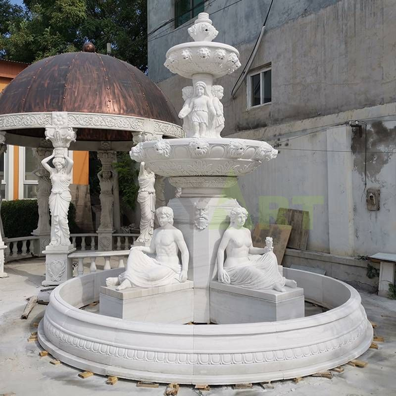 Large Outdoor White Marble Statuary Fountain for Home Garden