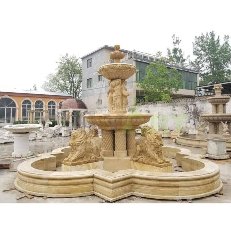 White Marble Stone Garden Water Fountain With Lion Statue
