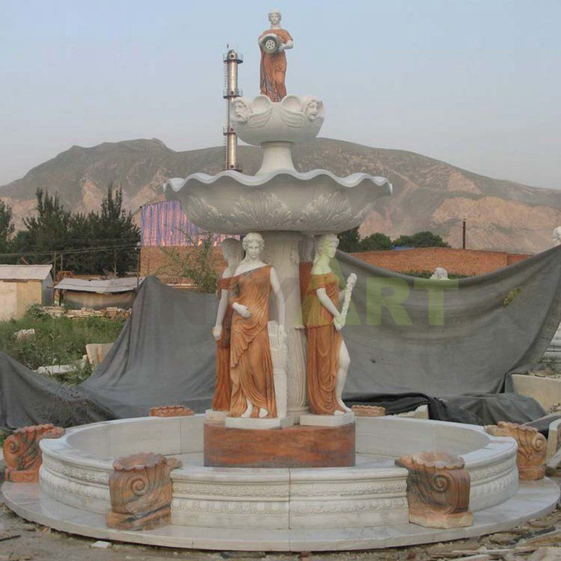 Natural Stone Marble Stone Woman Fountains For Hotel & Garden
