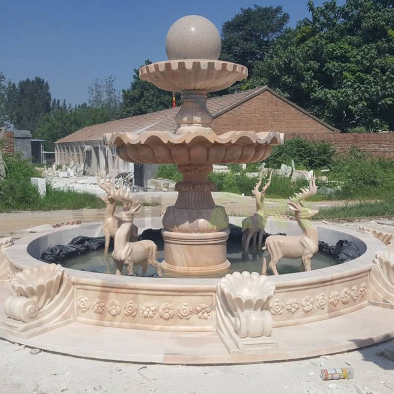 Round Stone Ball Fountain For Decoration