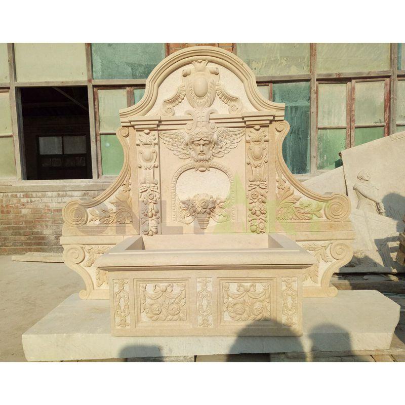 Custom Design Marble Figure Stone Beautiful Girl Wall Fountain