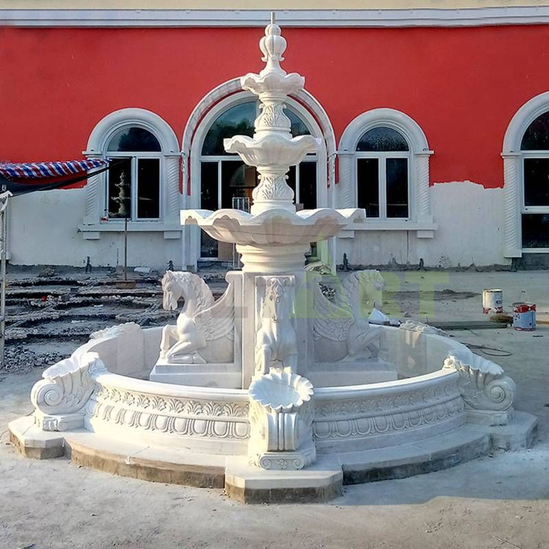 Marble Carved Outdoor Original Garden Stone Horse Fountain for sale