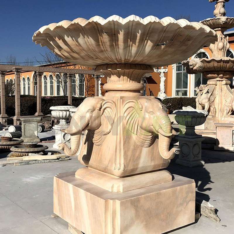 Custom Design Marble Animal Stone Elephant Head Fountain