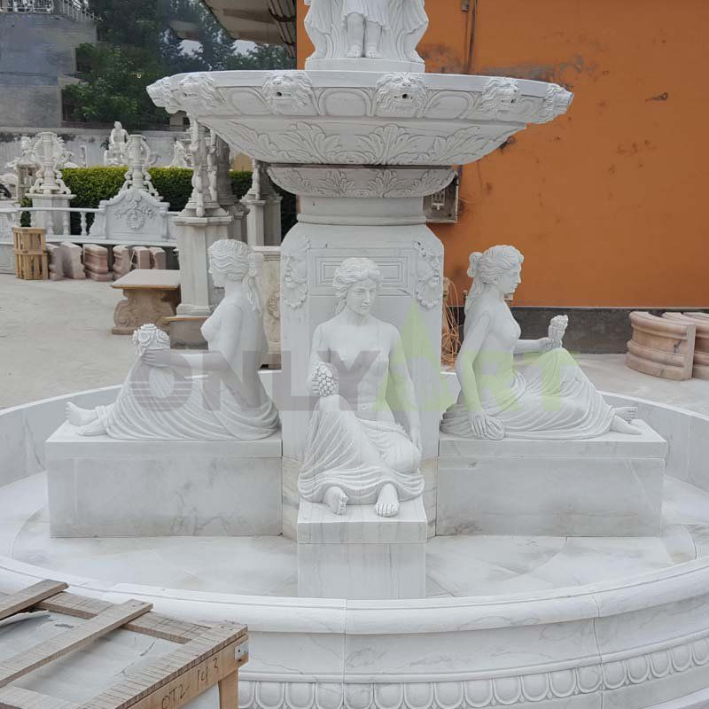 Premium Outdoor White Marble Water Fountain For Outdoor