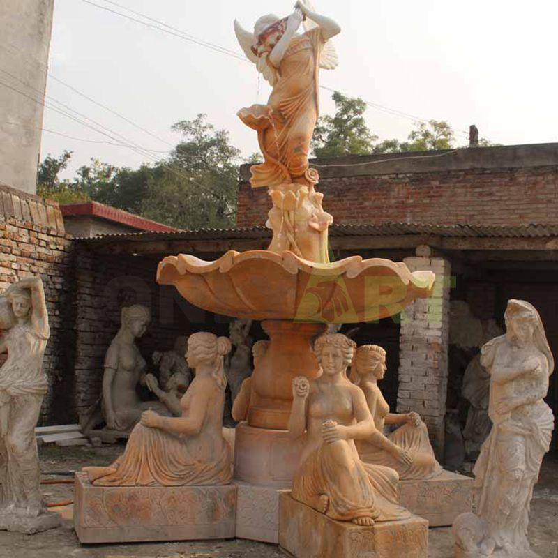 Outdoor Stone Carved Water Fountain With Lady Statue