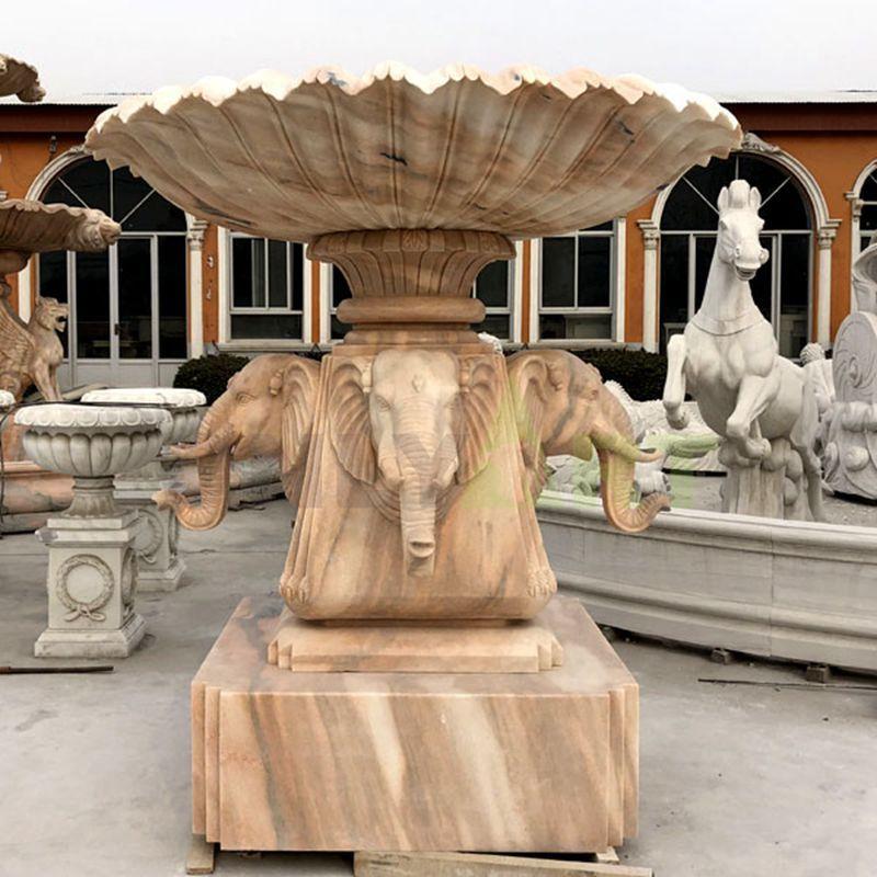 Outdoor Elephant Statue Marble Stone Garden Water Fountain