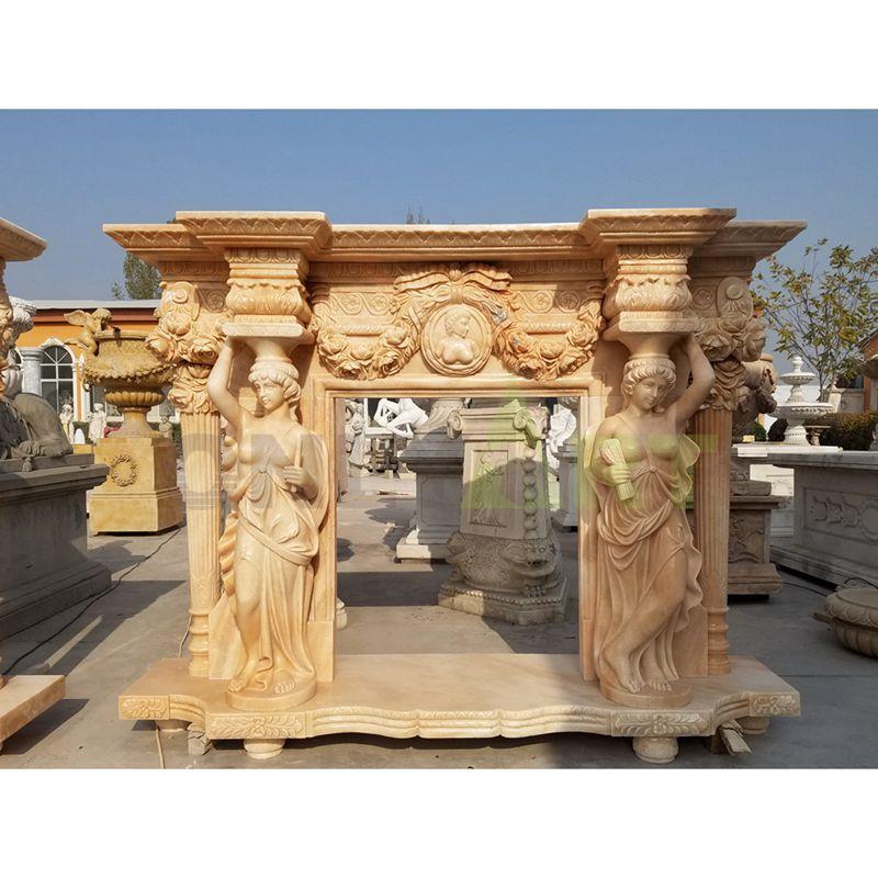 Woman Statues Yellow Marble Freestanding Fireplace Mantel