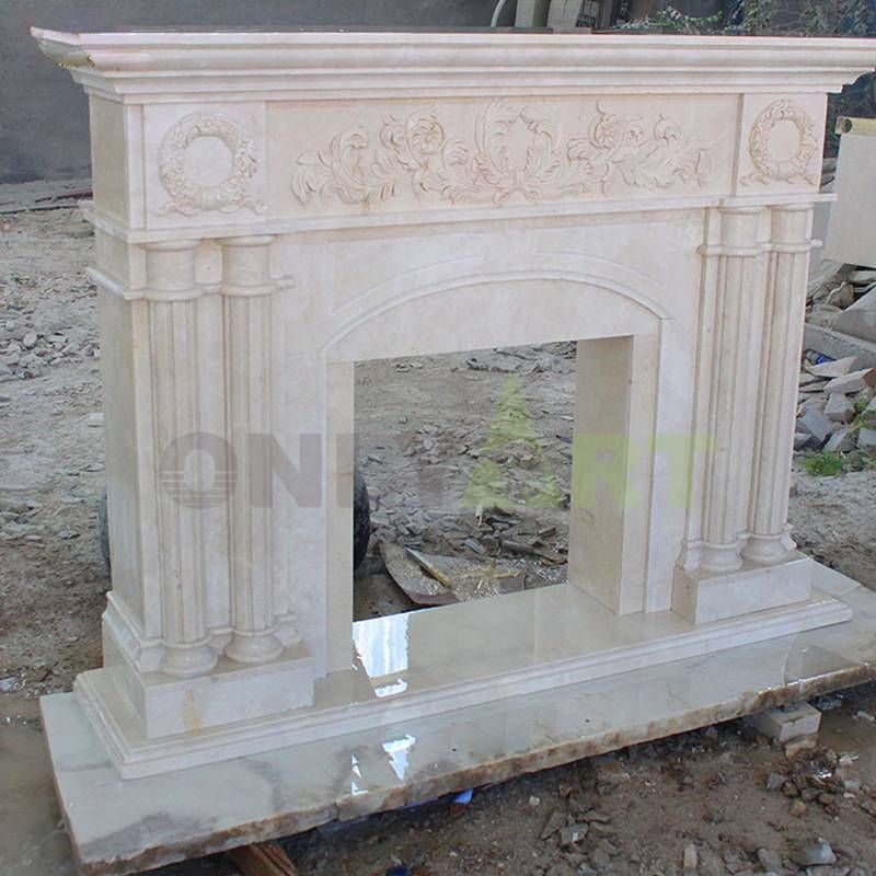 Indoor Modern Marble Stone Mantels Fireplace Surround