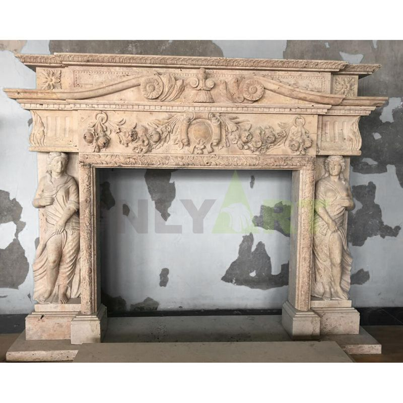 Indoor Home Decor Use Hand-carved Luxury Stone Fireplace With Woman Statues