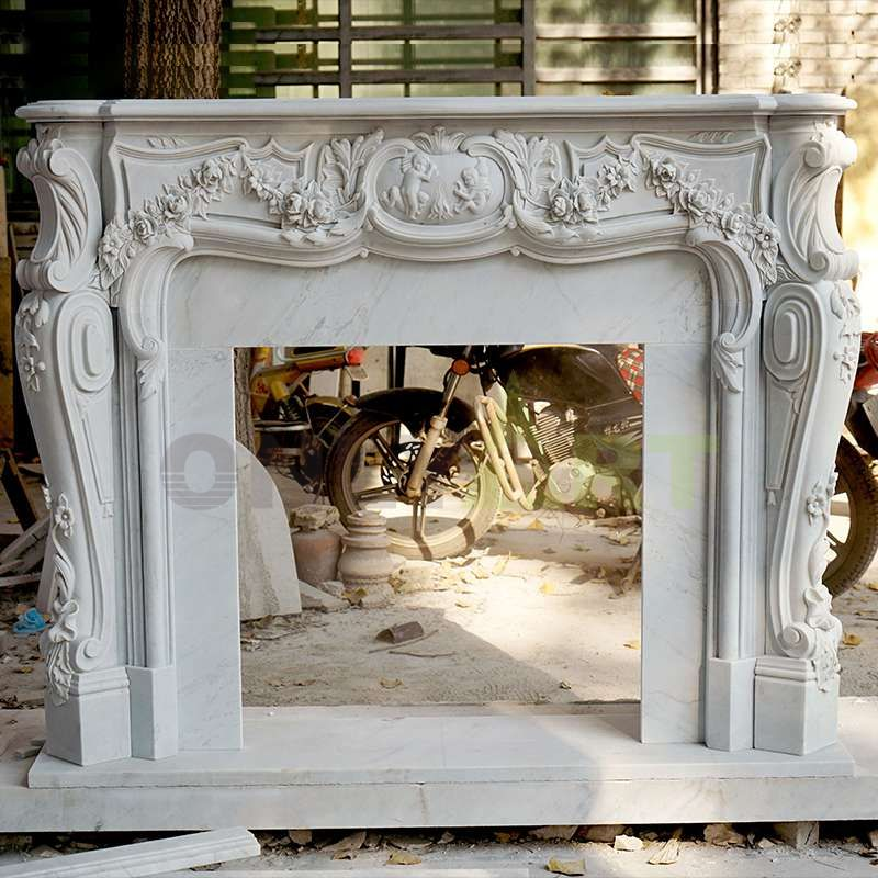 Indoor Freestanding White Natural Surround Marble Stone Fireplaces