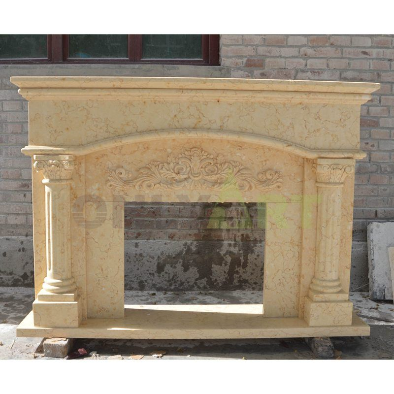 Insert Antique Carve Natural Stone Yellow Marble Fireplace