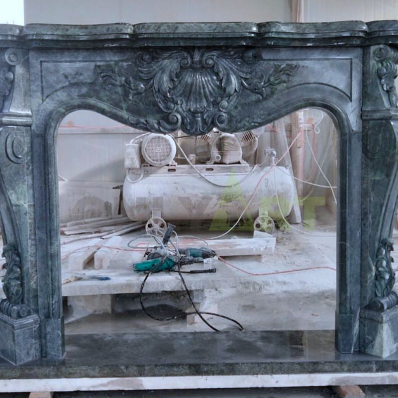 Indoor Natural Stone black Marble French Fireplace Surround