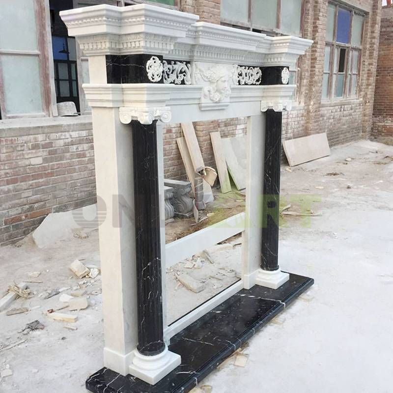 Hand Carved Natural Stone Customized Marble Fireplace Surround