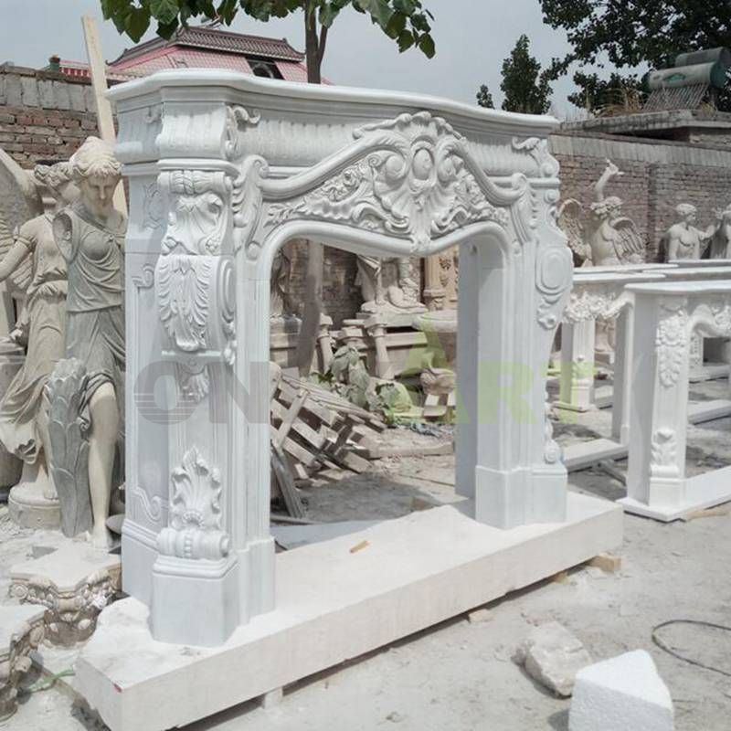 Very Impressive Carved Statuary Antique Stone Marble Fireplace