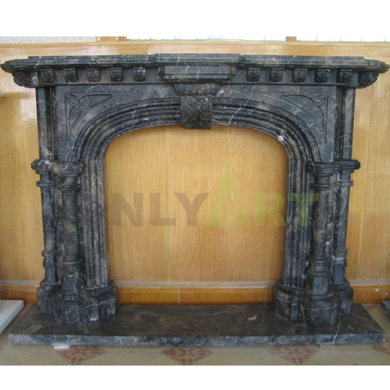 Villa Interior Decor Hand Carved Indoor Black Marble Stone Fireplaces