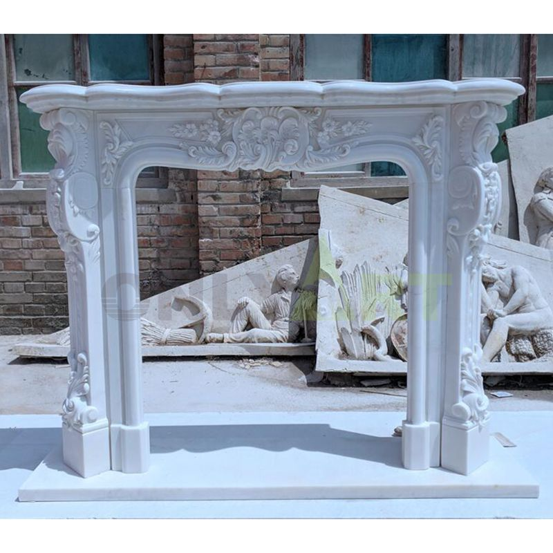 China Manufacturer Customize White Marble Detail Hand Carved Stone Fireplace