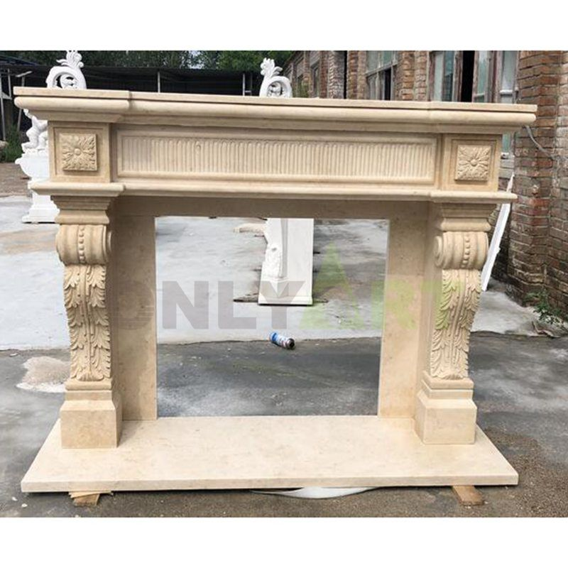 Indoor Decorative Fireplace Natural Marble Fireplace Surround Stone Fireplaces