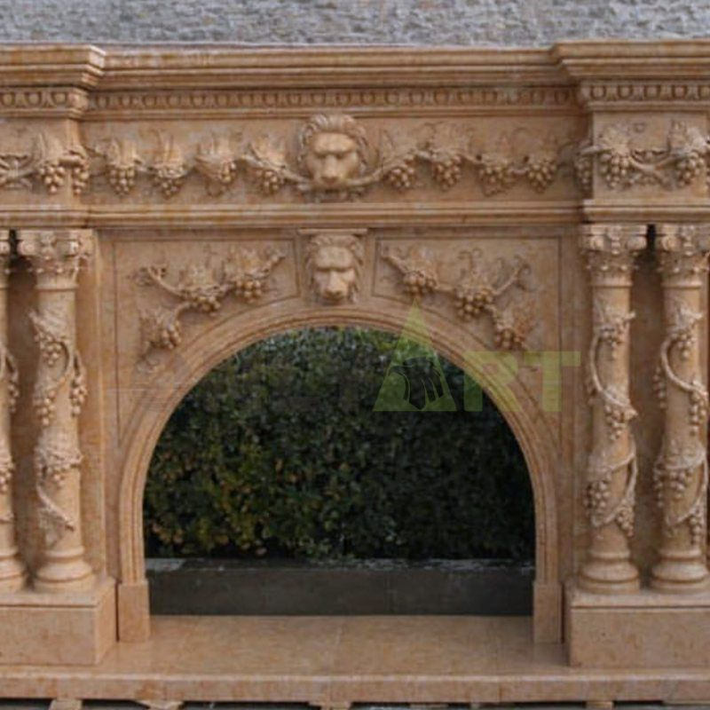 European Style Carved Natural Travertine Indoor Marble Fireplace Surround