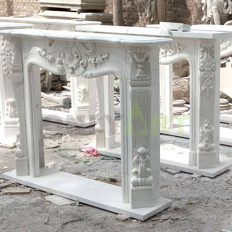 Indoor White Marble Fireplace Stone Fireplace Mantel