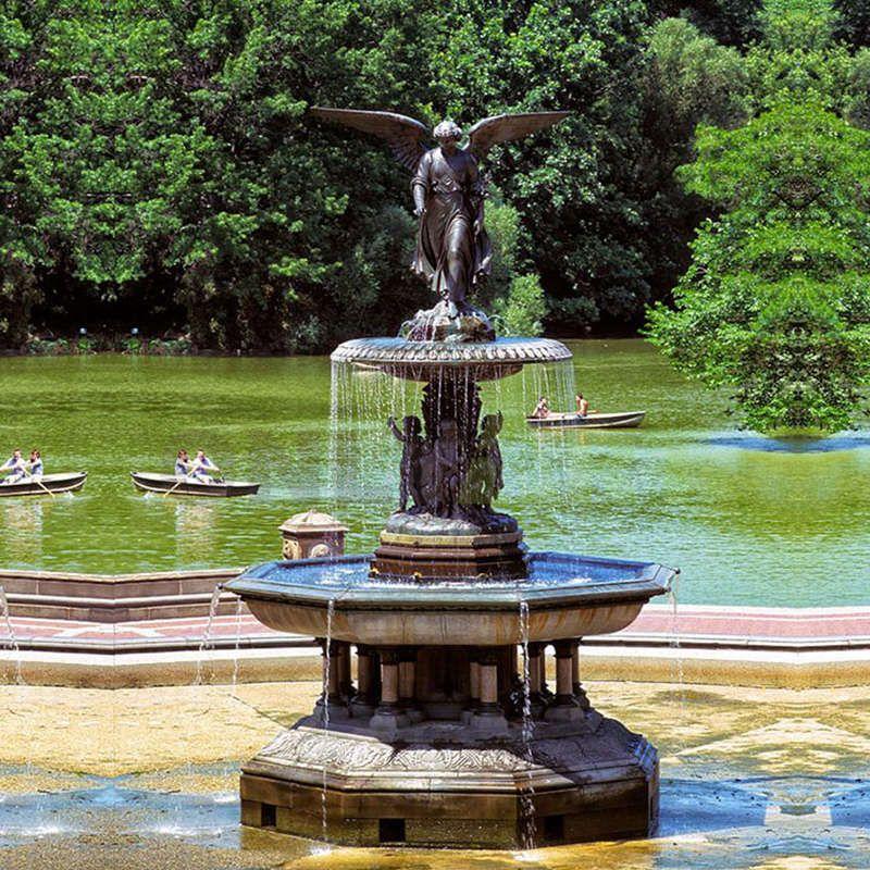 Outdoor decoration bronze water fountain brass angel fountain