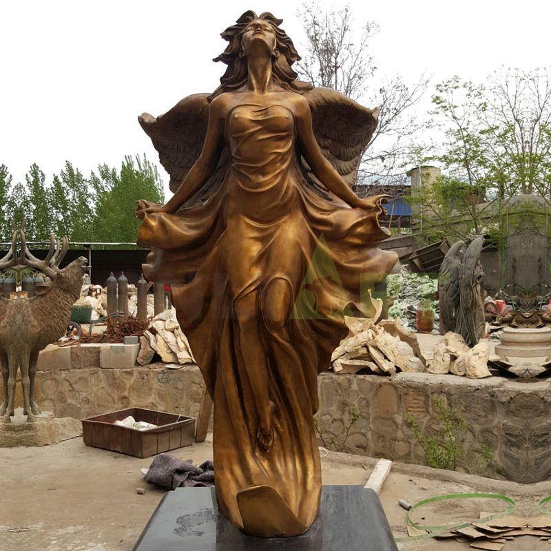 Outdoor decorative bronze brass angel sculpture