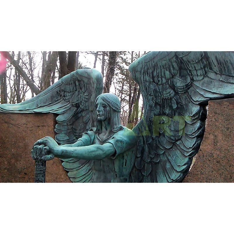 A bronze bust of the Angel of Death