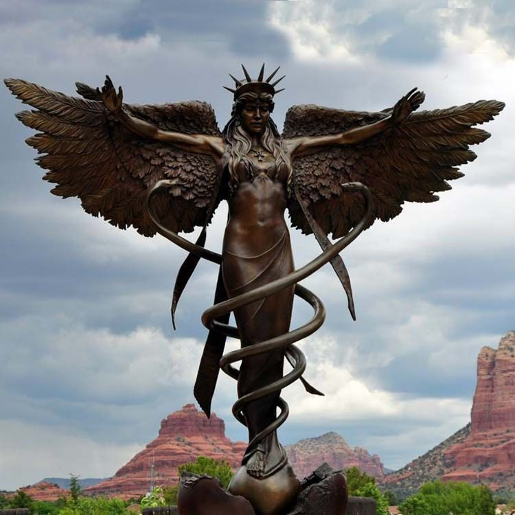 The sculpture of a Greek angel who controls everything