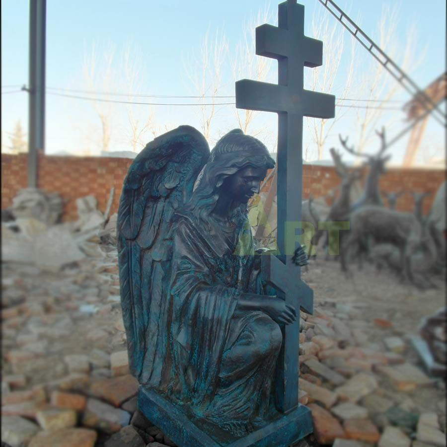 A mourning sculpture of a religious angel