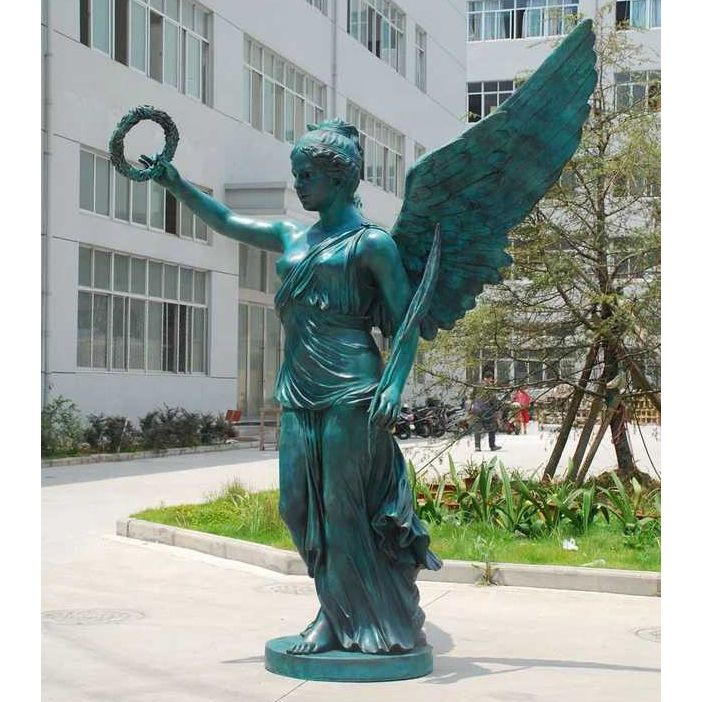 Outdoor life-size religious angel sculpture