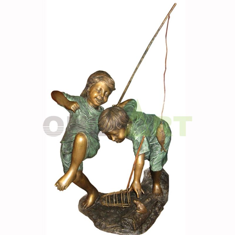 Let's go to the river to catch frogs, children sculpture
