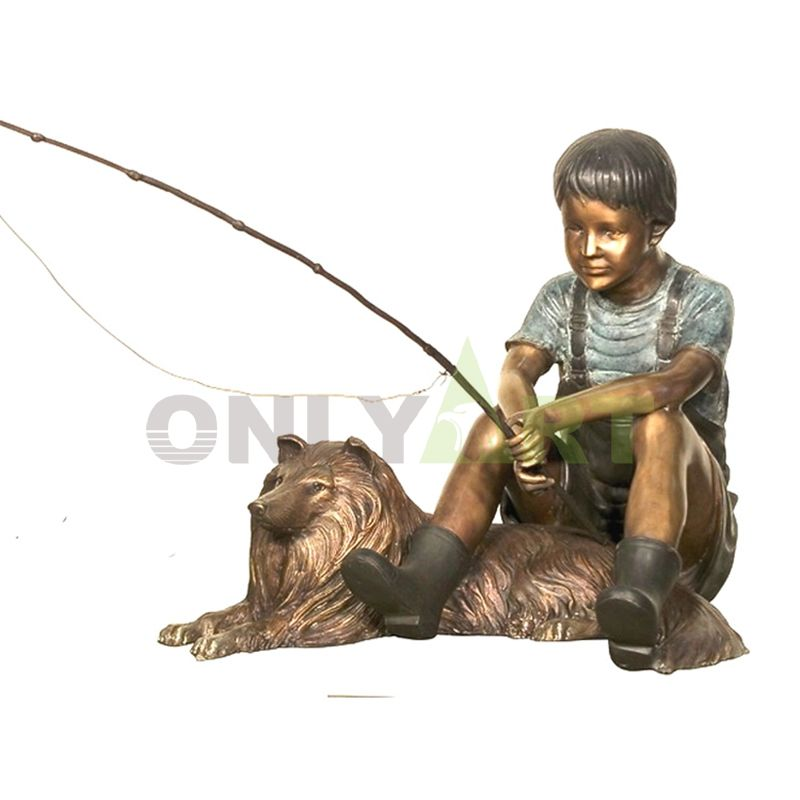 I went fishing with my big dog, kid sculpture