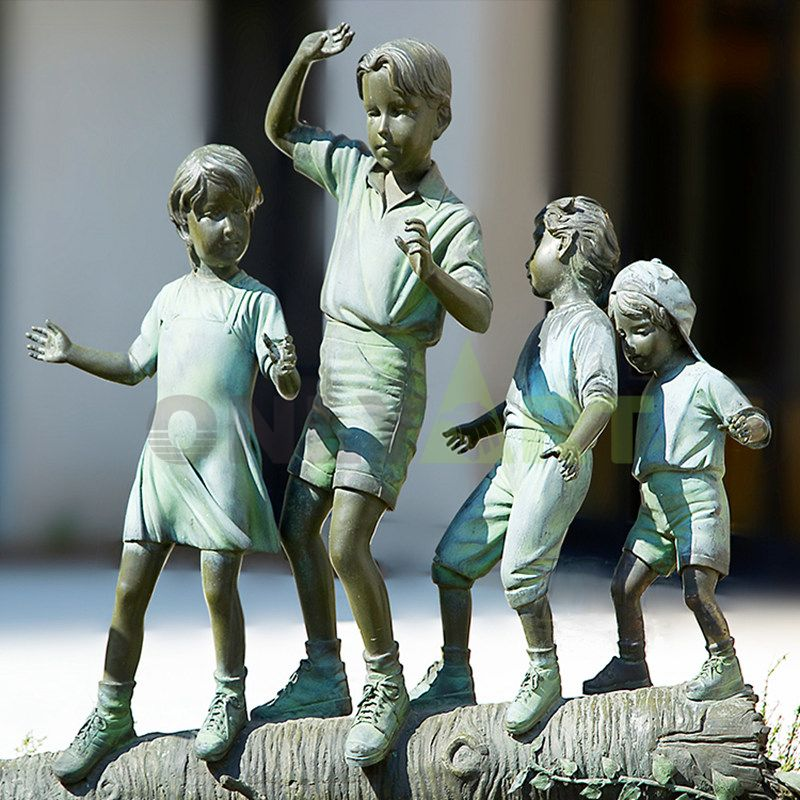 A group of lively children were tramping on the wood